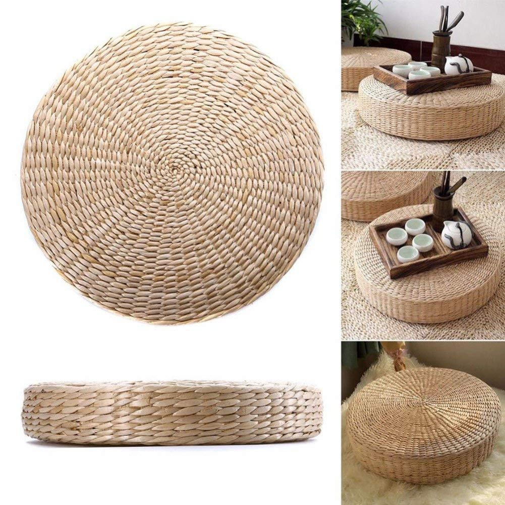 GOTOTOP Woven Straw Cushion Round Pouf Tatami Yoga Seat Pillow Floor Mat, Dining Room Home Decoration for Living Room Garden