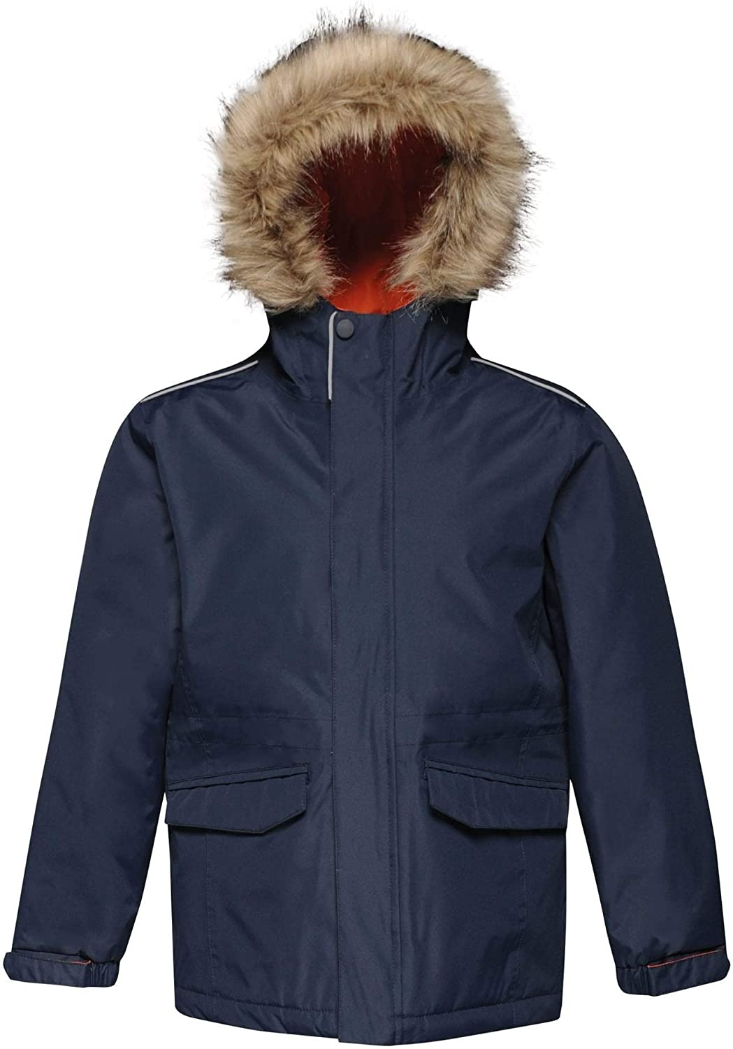 Regatta Childrens Professional Kids Cadet Waterproof Insulated Faux Fur Hooded Parka Jacket With Safety Reflective Detail