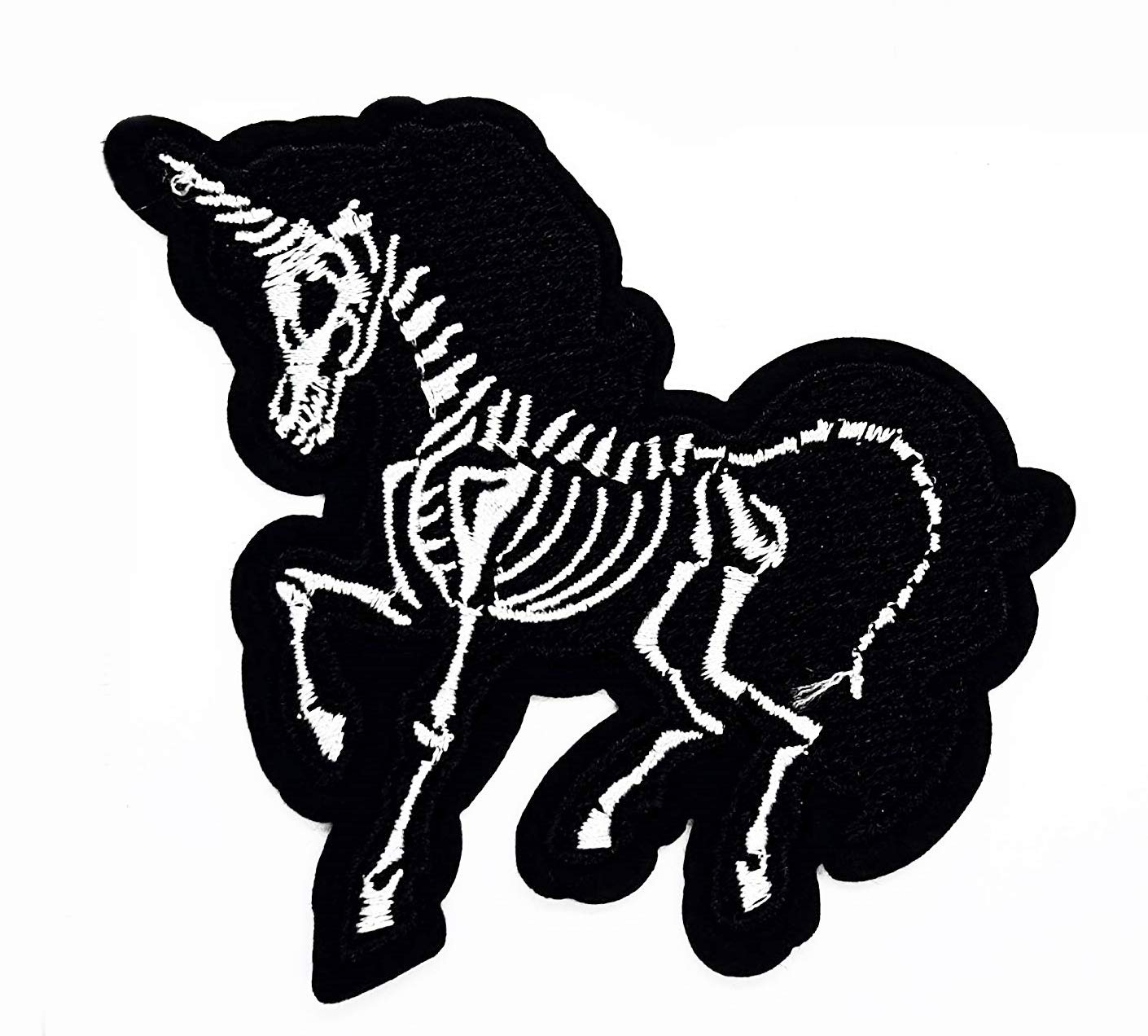 Skeleton Unicorn Horse Black Cartoon Chidren Kids Embroidren Iron Patch/Logo Sew On Patch Clothes Bag T-Shirt Jeans Biker Badge Applique Devil Artwork