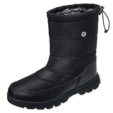 bec4e7a27439d Kuako Mens Womens Snow Boots Fur Lined Winter Lightweight Non-Slip Warm  Outdoor Booties