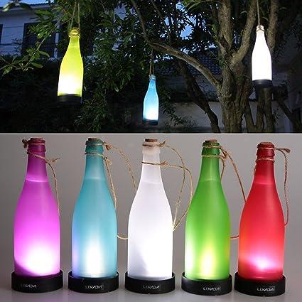 Angelakerry Juego de 5 LED funciona con energía solar luz de botella para colgar efecto llama