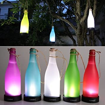 Angelakerry Juego de 5 LED funciona con energía solar luz de botella para colgar efecto llama lámpara de patio jardín Patio Lámpara de techo: Amazon.es: ...