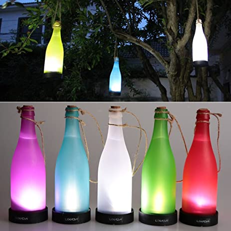 AngelaKerry LED Solar Powered Bottle Light Hanging Patio Lamp Flame Effect Garden Yard Hanging Lamp -