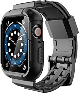 Simpeak (Fit for 40mm and 38mm) Rugged Band Compatible with Apple Watch Series 6/SE/5/4/3/2/1 , Rugged Sport Band Strap with Full Protection Case Replacement for Apple Watch 40mm/38mm , Black