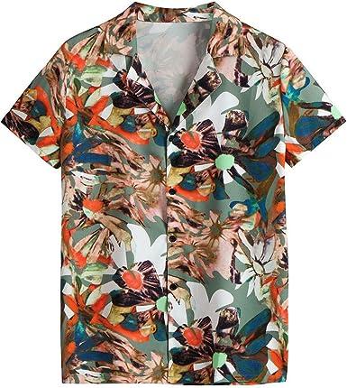 Camisas Hombre Flores 2019 Moda Playa de Verano Impresión Boho Vintage Retro Blusa Slim Fit Tops Shirts Cuello Mao Camisetas Hombre Manga Corta Tallas Grandes 3XL: Amazon.es: Ropa y accesorios