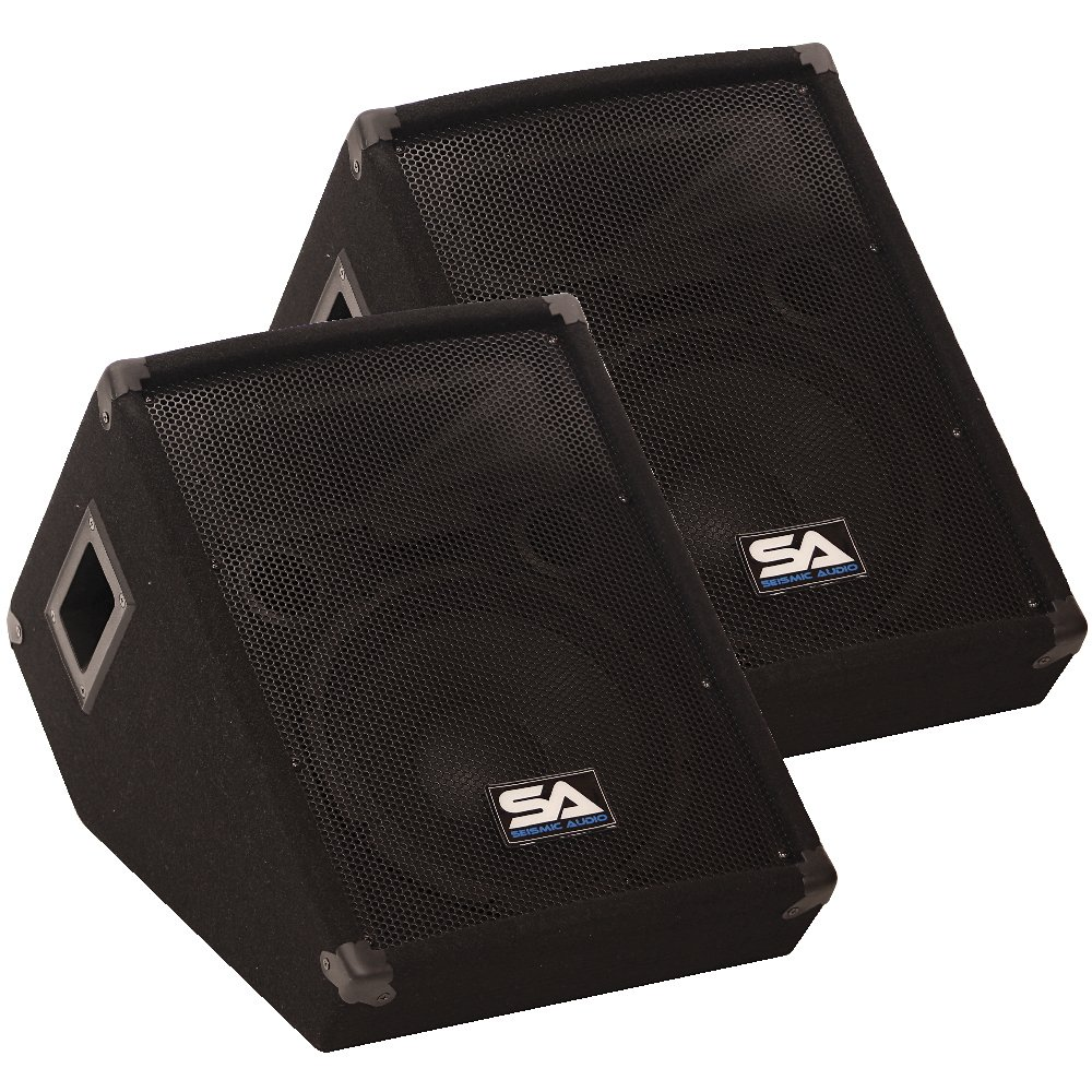 Seismic Audio - SA-10MT - Pair of 10'' Floor / Stage Monitors Wedge Style with Titanium Horn