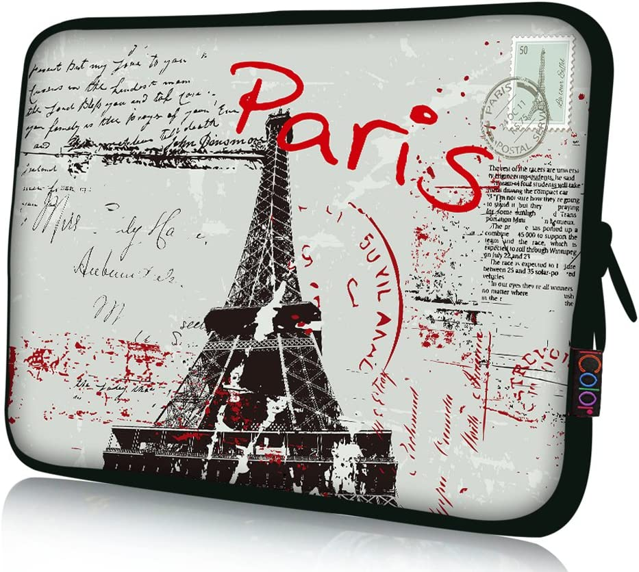 """iColor 15"""" Laptop Sleeve Bag Neoprene 14.5"""" 15.4"""" 15.6"""" inch Neoprene Netbook Computer Tablet PC Handle Case Carrying Cover Pouch Holder Protection-Paris"""