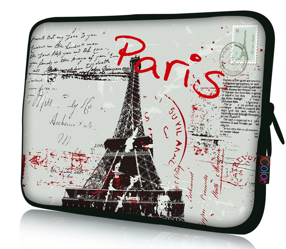 iColor 15'' Laptop Handle Sleeve Bag Neoprene 14.5'' 15.4'' 15.6'' inch Neoprene Netbook Computer Tablet PC Handle Case Carrying Cover Pouch Holder Protection-PARIS