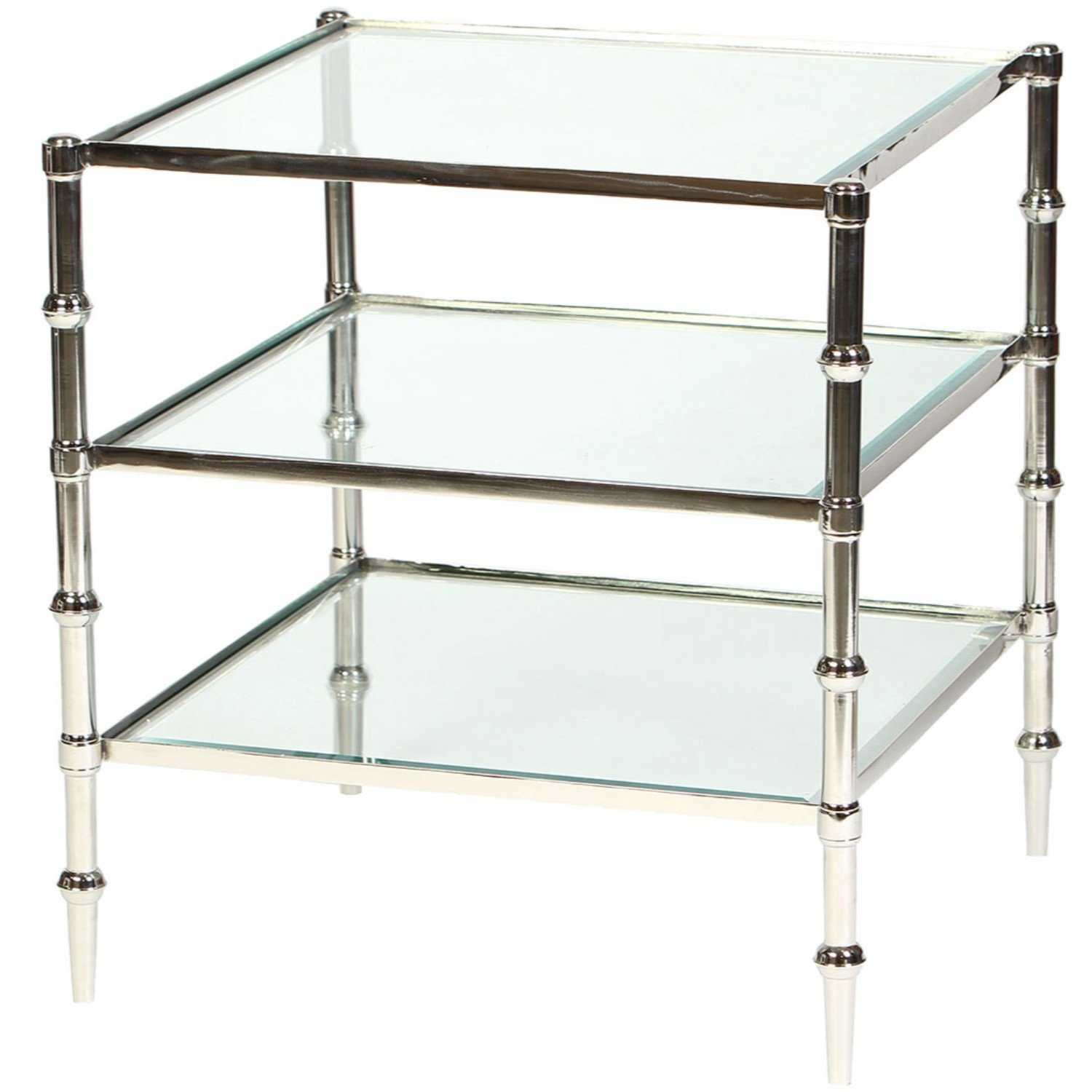Knox and Harrison Tiered Square Glass Occasional Accent Table in Polished Nickel Finish