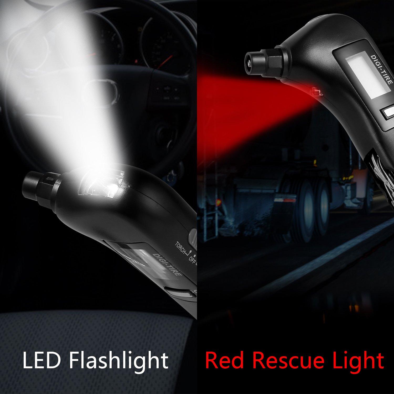 digitale manometro 150 PSI 4 impostazioni con retroilluminazione blu LCD martello di sicurezza LED e luce di salvataggio di emergenza