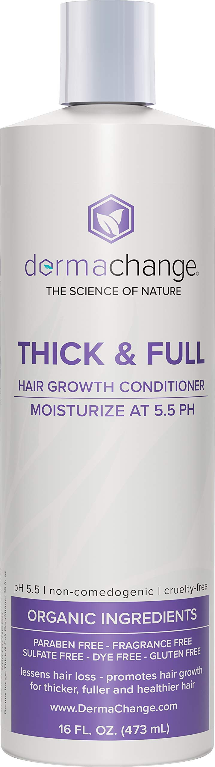 Hair Growth Organic Conditioner - Grow Hair Fast - Sulfate Free - Best Hair Products With Vitamins - Prevent Hair Loss - Helps Dermatitis - For Women and Men - Made in USA, 16 fl.oz.(473ml) by DermaChange (Image #1)