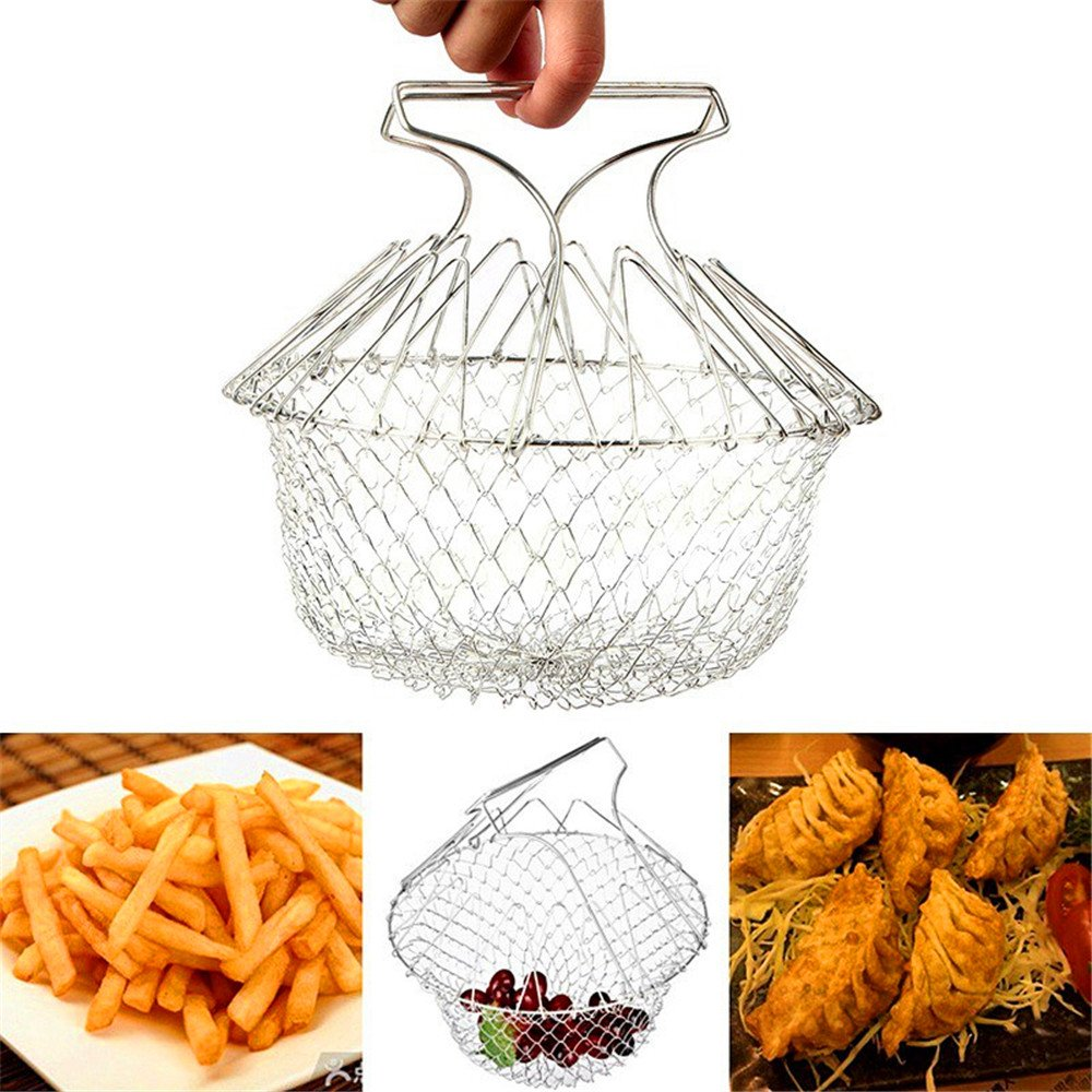Dekawei Stainless Steel Fry Basket, Chef Basket Foldable Strainer Washable Gadgets Kitchen Cooking Tool for Fried Food or Fruits