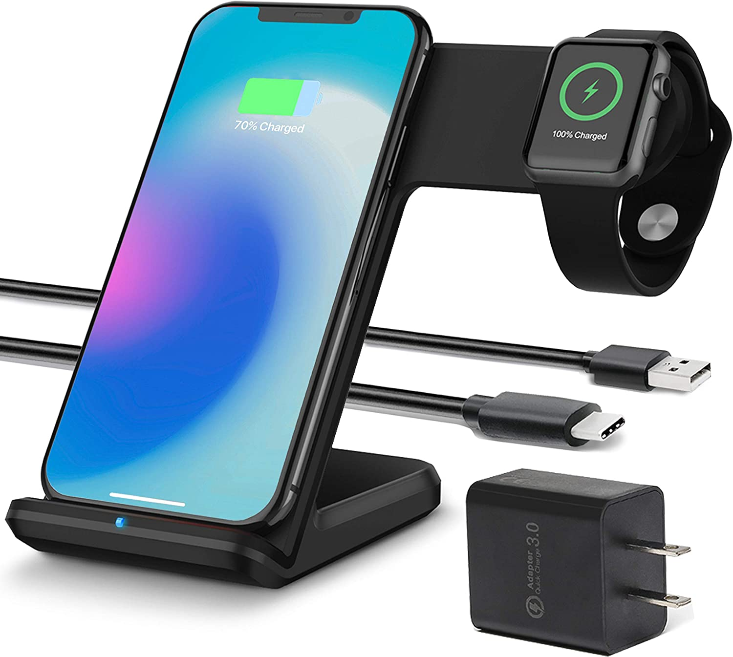 OCOMMO Upgraded 2 in 1 Wireless Charger for Apple Watch 5,4,3,2,1, iPhone 11, 11 PRO, 11 MAX PRO, XS MAX, XR, XS, 8Plus, iPhone and Watch Charging Station (QC 3.0 Adapter Included), Black