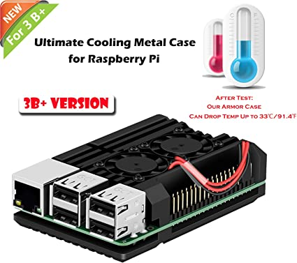 Dual Fan Heatsink W// Case for Raspberry Pi 3B+//Pi 3 B//Pi 2B// Pi 2B NEW