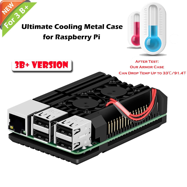 iUniker Raspberry Pi Armor Case, Raspberry Pi Metal Case with Dual Fan Aluminium Alloy, Raspberry Pi Fan, Heatsink for Raspberry Pi 3 Model A+ / Pi 3 A+