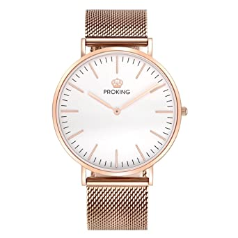 Mens Watches,PROKING Waterproof Business Dress Rose Gold Stainless Steel Wrist Watch,6mm Ultra