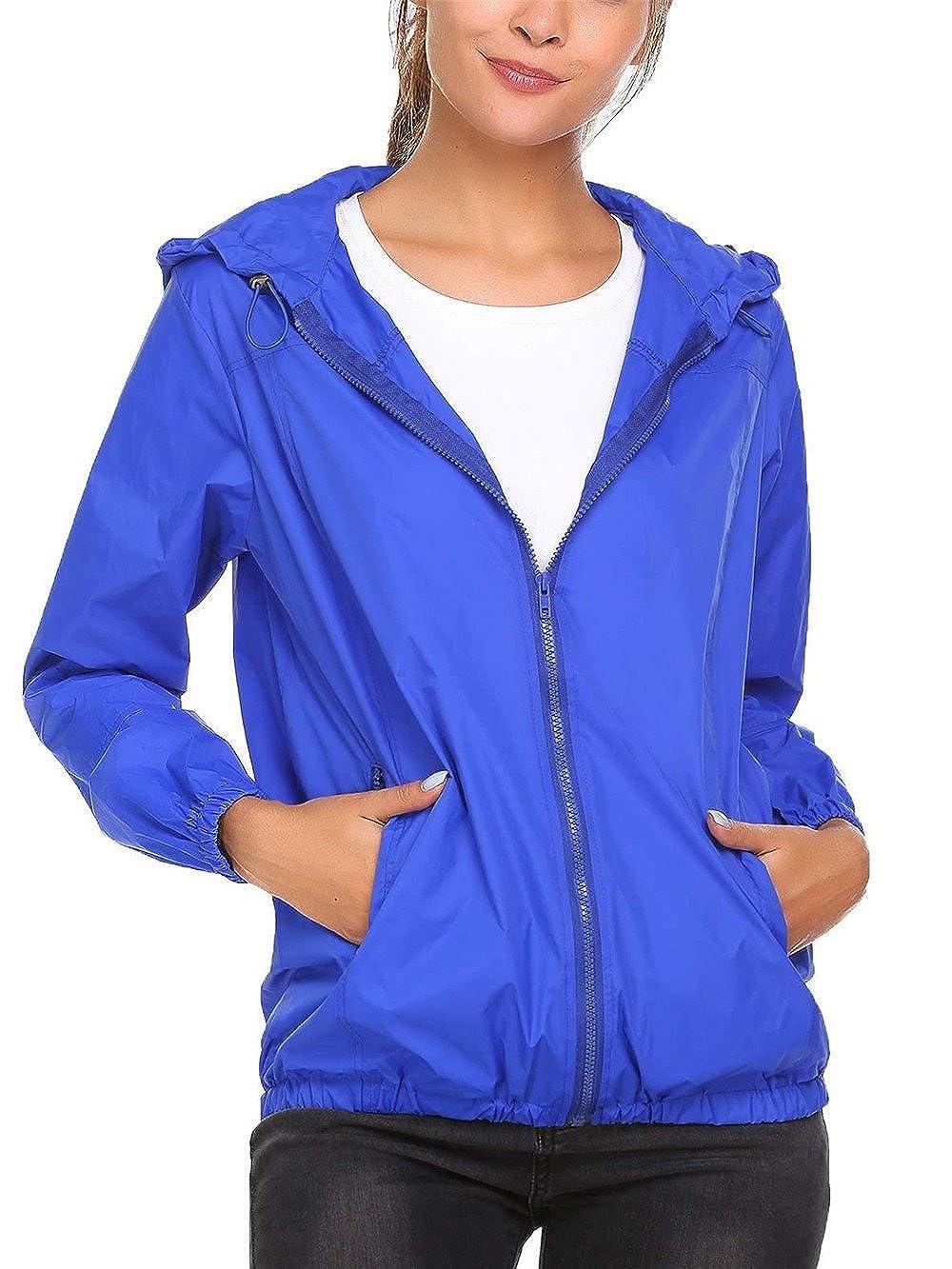 SummerRio Regenjacke Damen Wasserdicht Atmungsaktiv Windjacke Regenmantel mit Taschen und Kapuze f/ür Outdoor