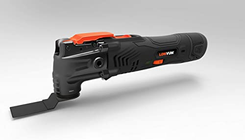 LOMVUM Power tools 12V Oscillating Tool Kit, 2Ah Lithium-Ion Cordless Oscillating Multi-Tool, with 6 Variable Speed, LED Light and Accessories