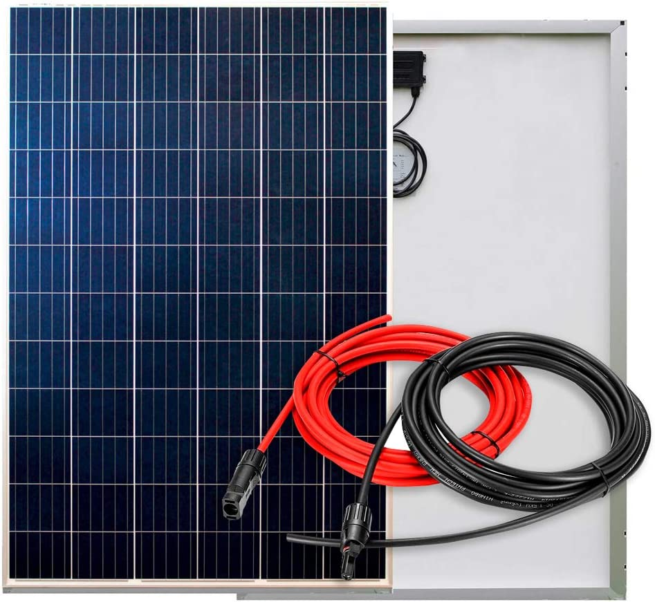PlusEnergy Placa Solar Policristalina 270W 12V/24V + Cables y Conector MC4