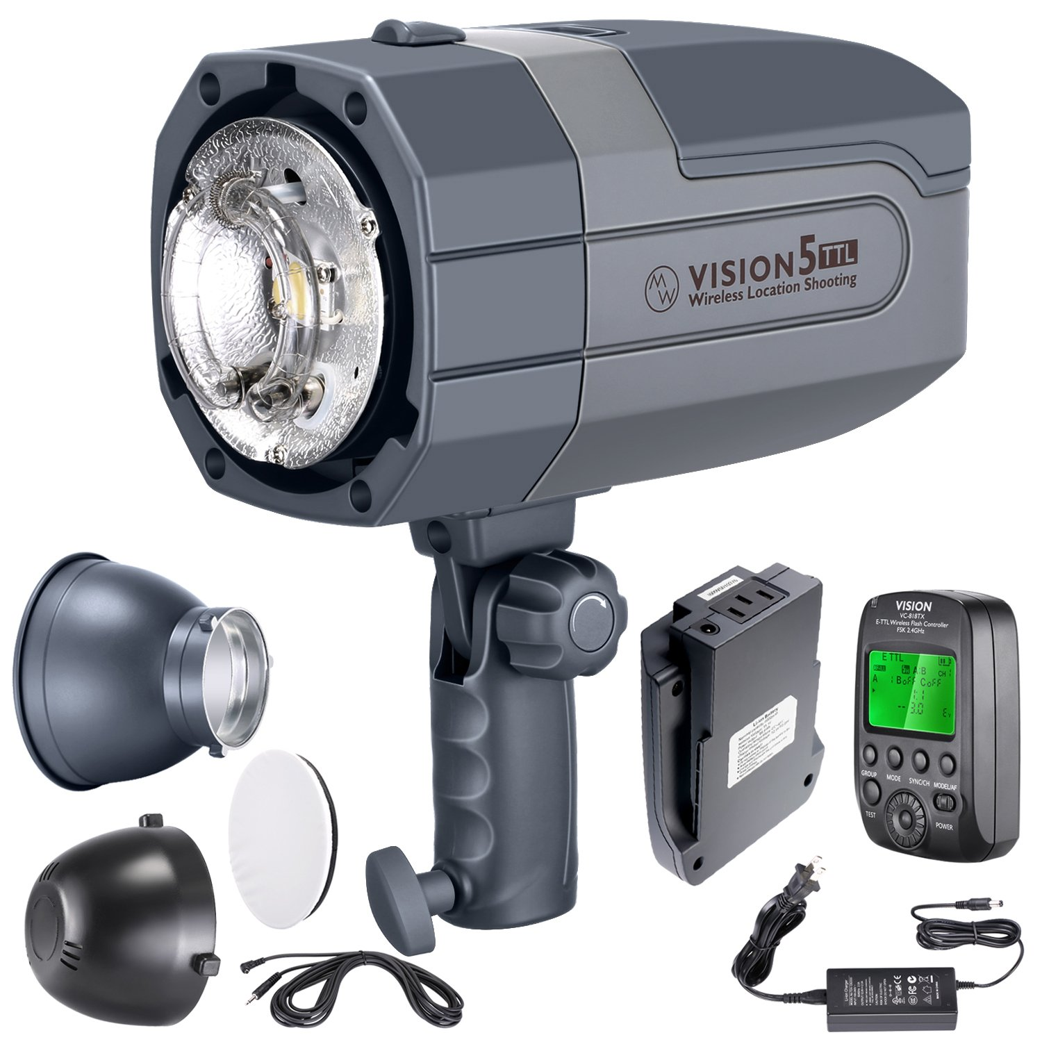 Neewer Vision5 400W TTL for NIKON HSS Outdoor Studio Flash Strobe with 2.4G System and Wireless Trigger,2 Packs Li-ion Battery(up to 500 Full Power Flashes),German Engineered,3.96 Pounds,Bowens Mount by Neewer (Image #8)
