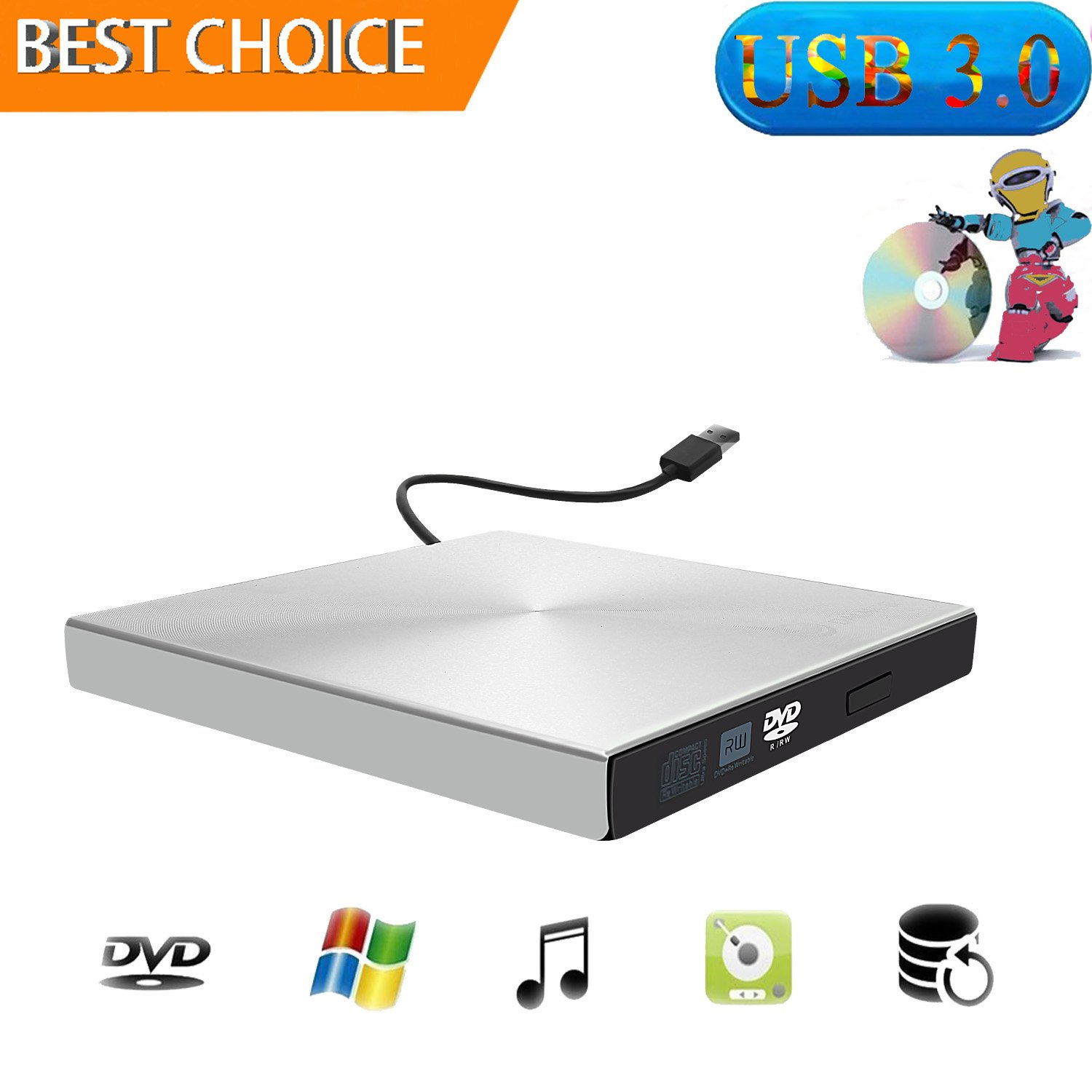 External CD Drive, USB 3.0 External DVD CD Drive Portable CD DVD +/-RW Drive Slim DVD/CD Rom Rewriter Burner Writer High Speed Data Transfer for Macbook Pro Laptop/Desktops Win 7/8.1/10/Linux OS/Vista