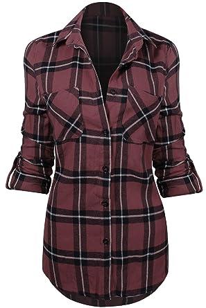 1eadf3fc Women's Classic Collar Button Down Roll Up Long Sleeve Plaid Flannel Shirt