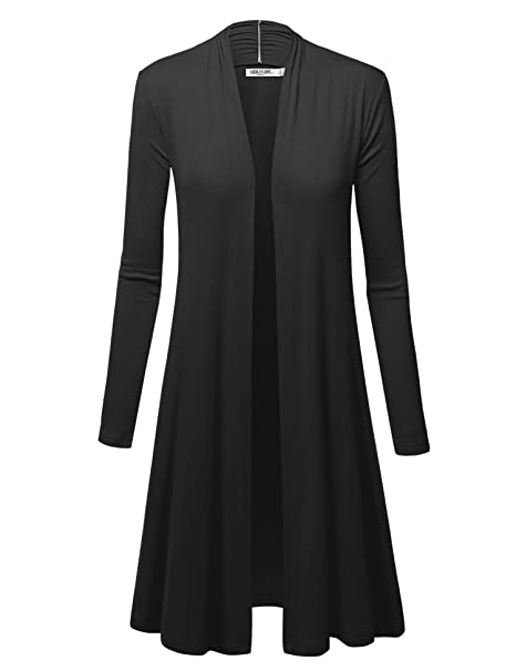 WSK1048 Womens Solid Long Sleeve Open Front Long Cardigan S Black