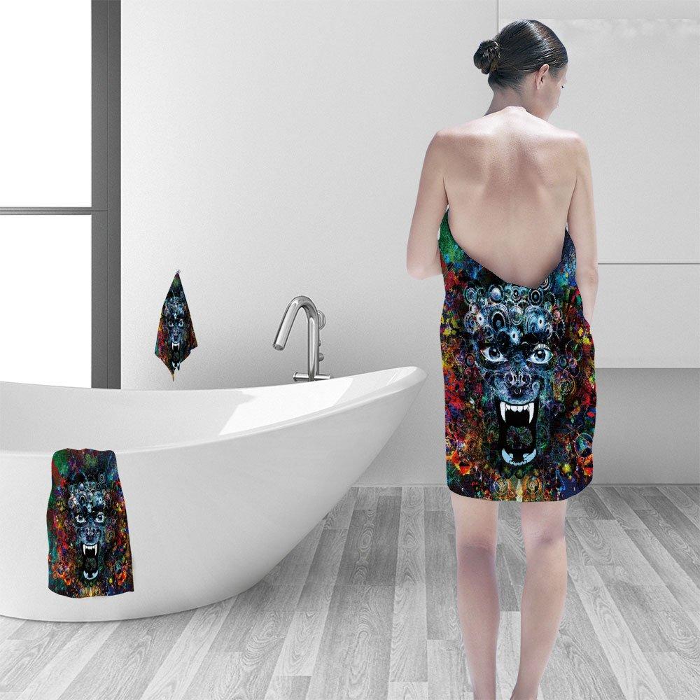 Nalahomeqq Bath towel set Abstract animal head illustration background 3D Digital Printing No Chemical OdorEco-Friendly Non Toxic13.8 x 13.8-11.8''x27.6''-27.6''x55.2''