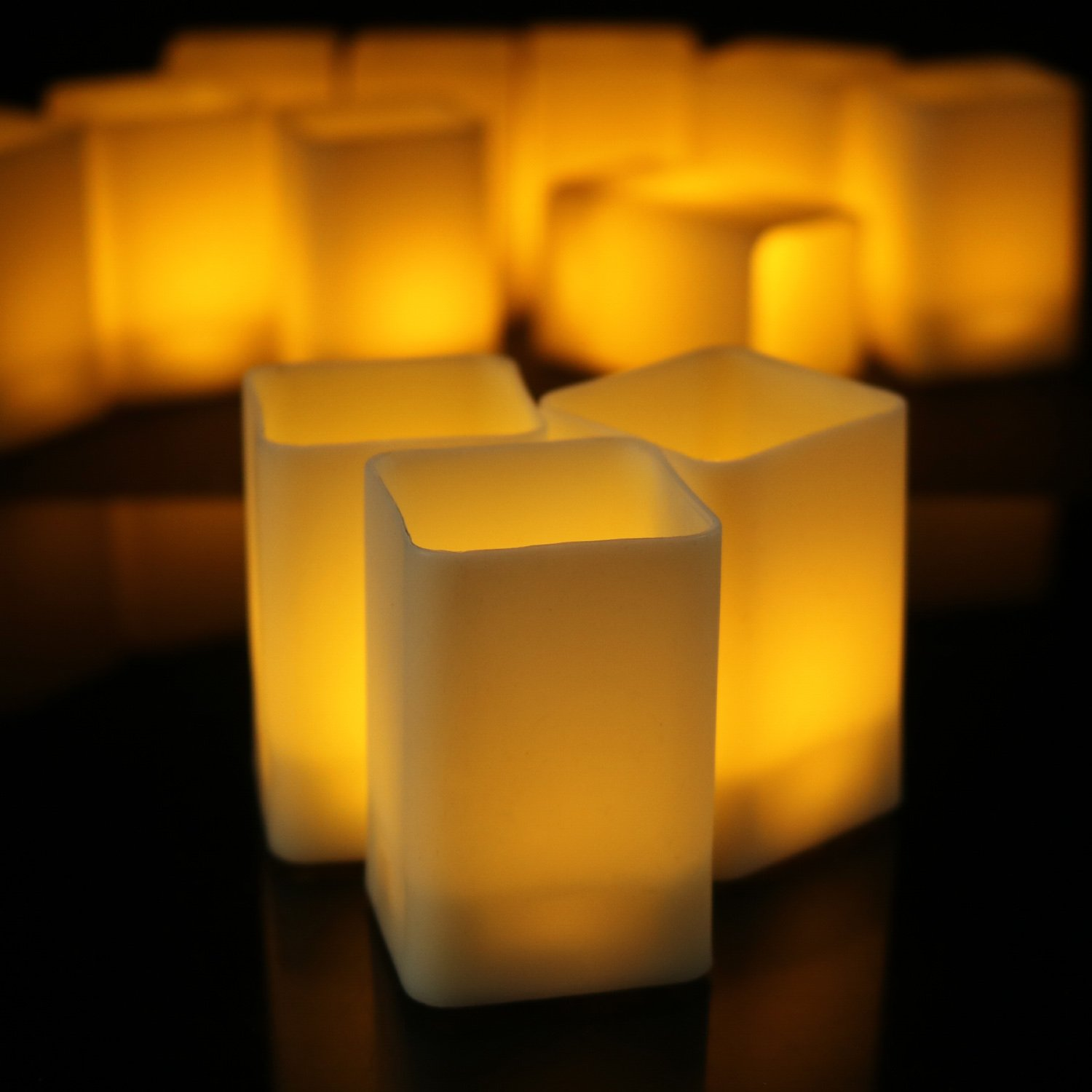 Horeset 12pcs Square Flameless Candle Warm White Plastic Flickering LED Tea Lights Faux Battery Operated Electric Lights, Fake LED Candle for Home Decor, Weddings, Birthday, Home Party Gifts