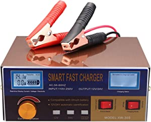 Gecheer Automatic Battery Charger, 12V/24V Intelligent Digital Battery Charger with Protection System, Reconditioner Pulse Repair for Car Cell Motorcycle Battery