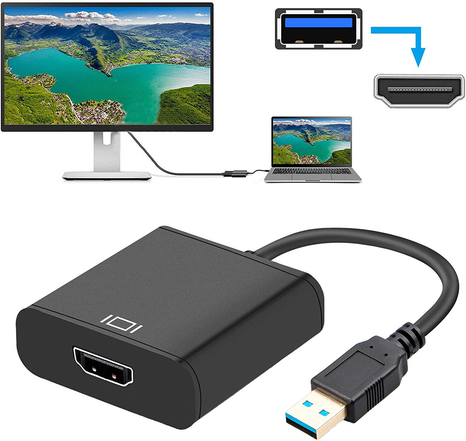 USB to HDMI Adapter for Home Office 4K@60Hz,USB 3.0//2.0 to HDMI 1080P Video Graphics Cable Converter with Audio for PC Laptop Projector HDTV Compatible with Windows XP 7//8//8.1//10