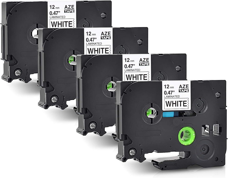 NineLeaf ブラザー tzeテープ 12mm 白地黒文字 4個セット ブラザー工業 tze TZe-231 ブラザー 互換 TZテープ P-Touchピータッチ tze テープ PT-P900W PT-P300BT PT-9800PCN PT-2730 PT-P700 PT-P750W PT-J100P PT-18N