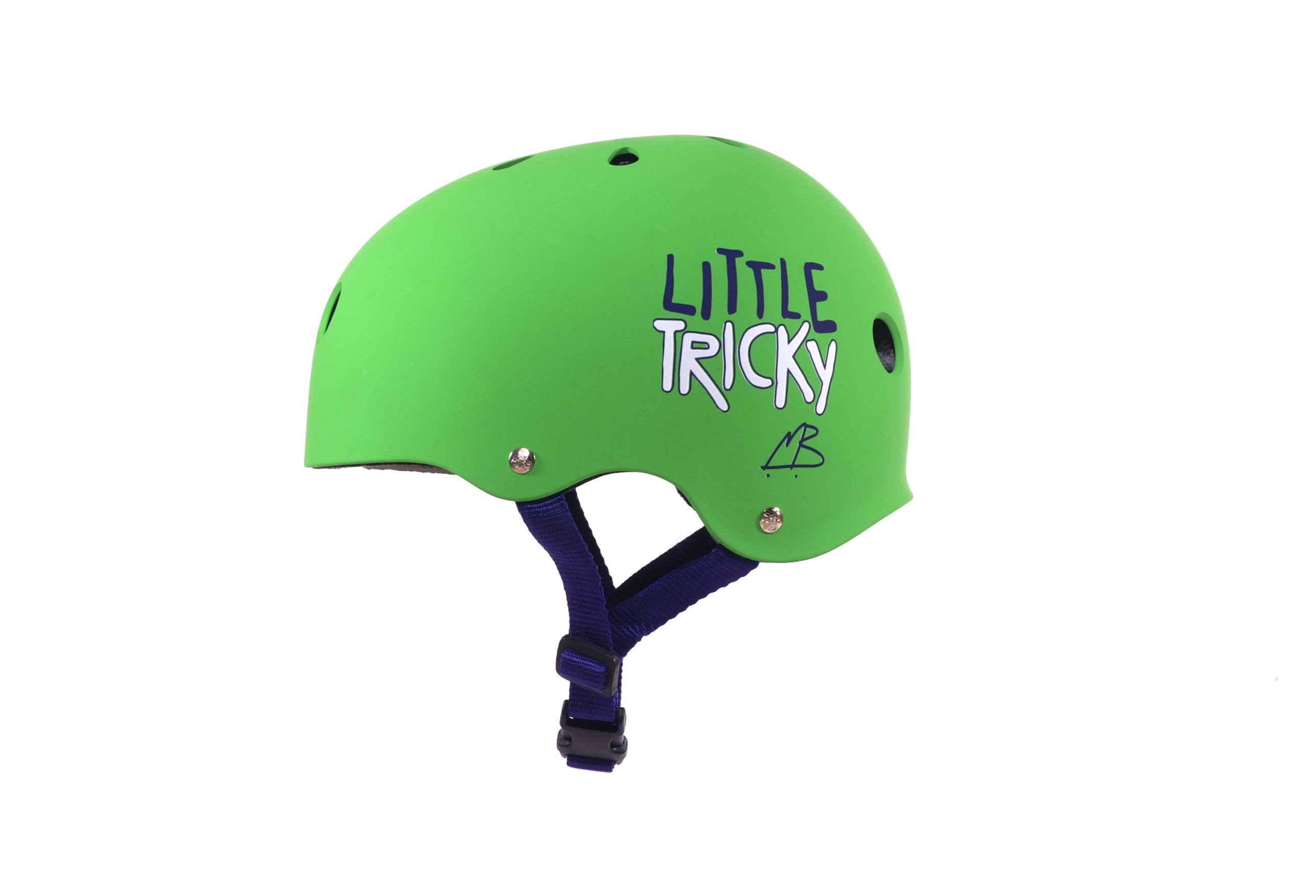 Triple Eight Little Tricky Dual Certified Sweatsaver Kids Skateboard and Bike Helmet, Green Glossy