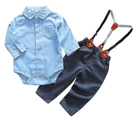 cea7904eb Feoya Mono con Pantalones Tirantes Ajustables Traje Diario Ropa Casual para Bebé  Niño 6-9