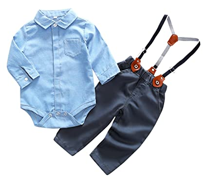 fc614cdc Infant Boy Outfits Suit with Suspenders Gentlemen Formal Wear Jumpsuit,  Blue for 6-9