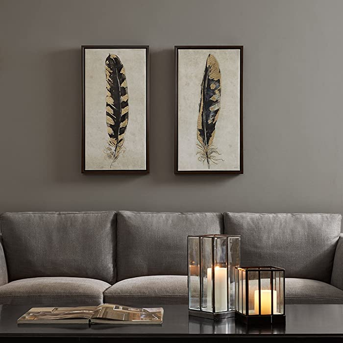 Urban Habitat, Gilded Feathers 2 Piece Set Wall Art Gold Foil Canvas, Modern Contemporary Global Inspired Painting Living Room Accent Décor, Black/Gold, 16.75 x 31.75, Yellow