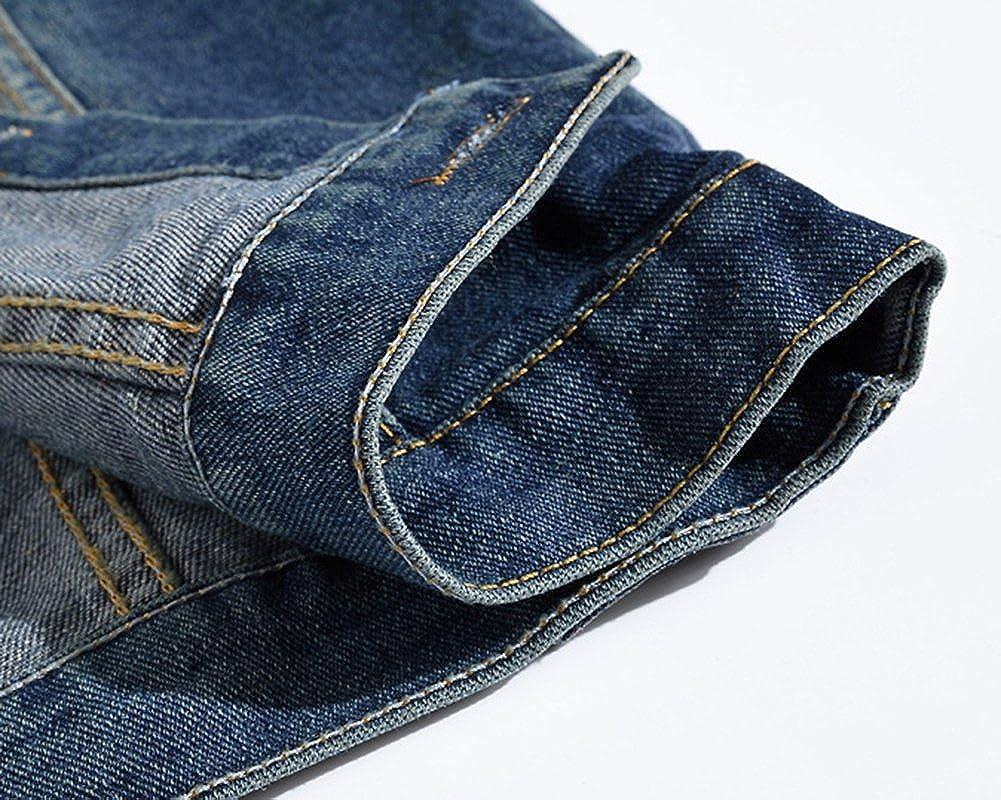 PengGengA Herren Casual Flag Drucken Slim /Ärmellose Denim Jeansweste mit Knopf