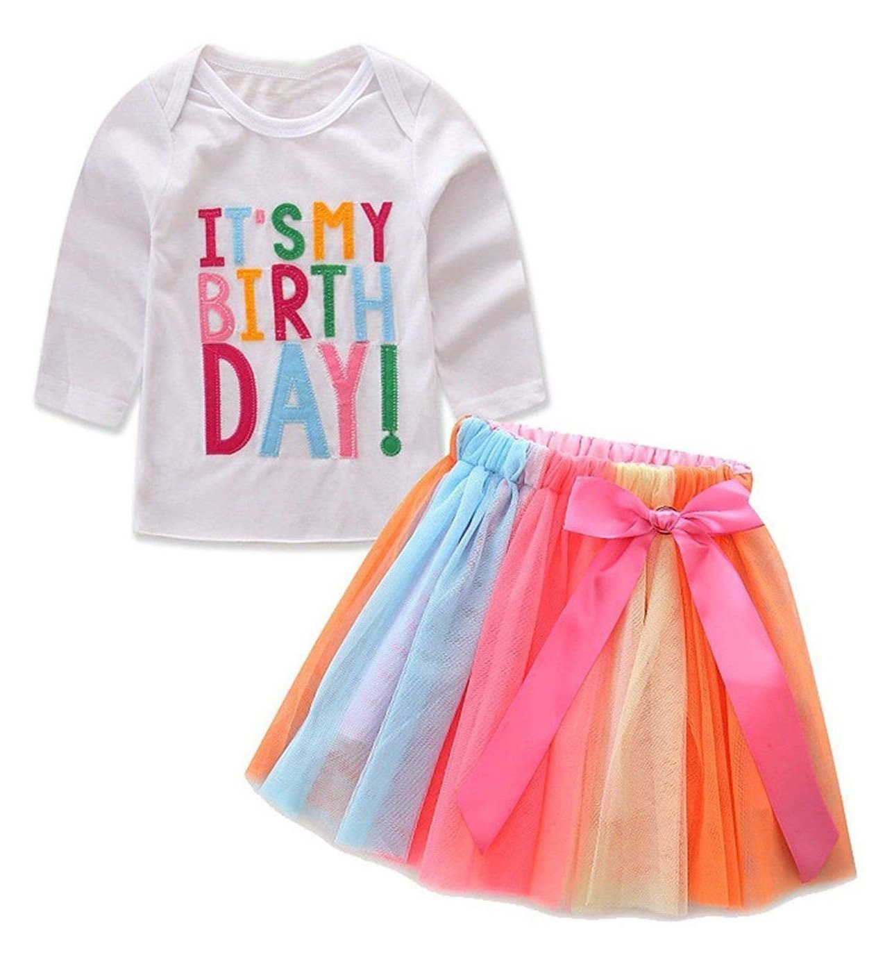 Baby Little Girls Letters T-Shirt + Colorful Rainbow Skirts Birthday Gift Outfits Set (White B, 4-5 T)