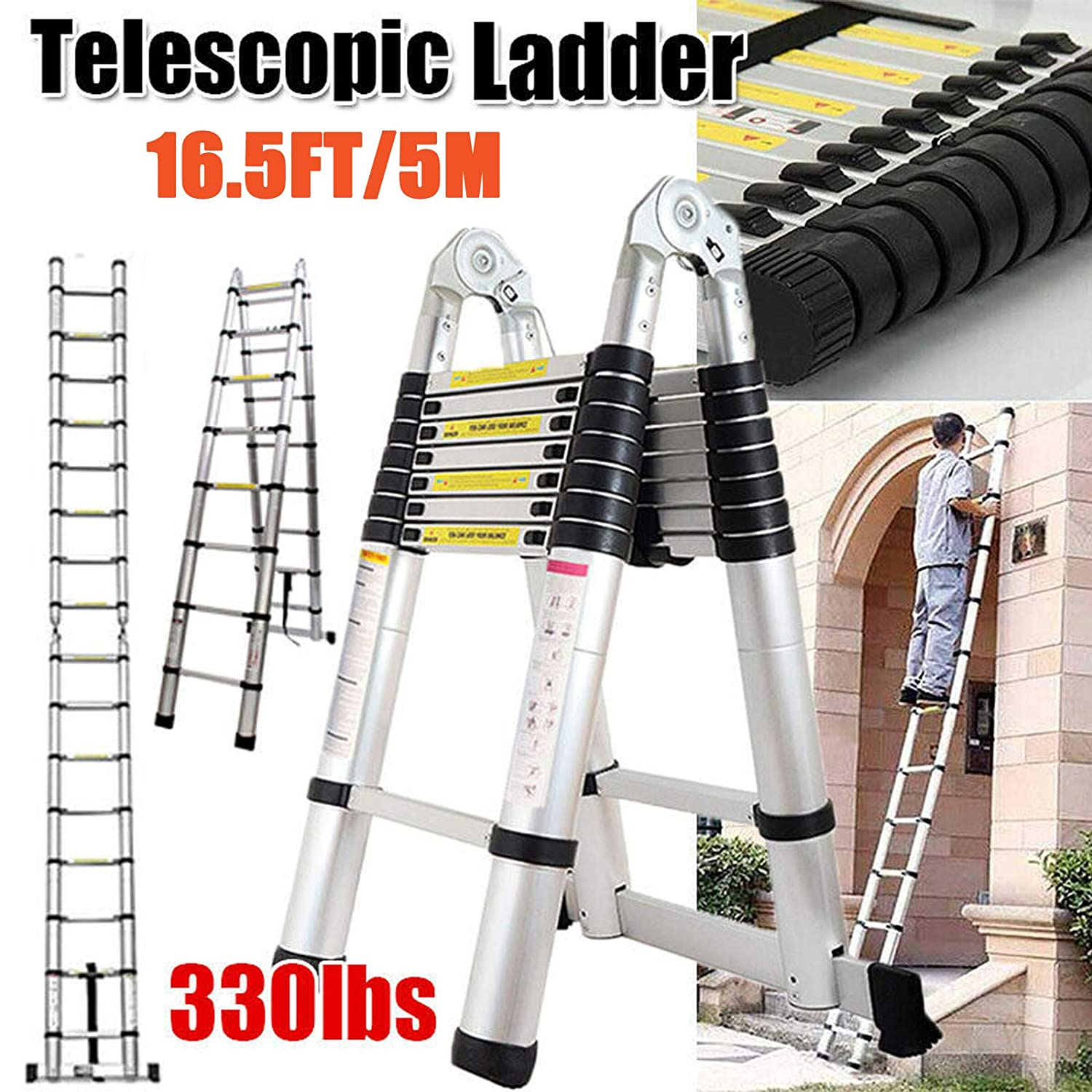 16.5 FT Aluminum Telescopic Extension Ladder Multi-Use Telescoping Ladder 330 Pound Capacity A-Frame & Straight Ladder Folding Portable for Indoor Outdoor DIY 5M