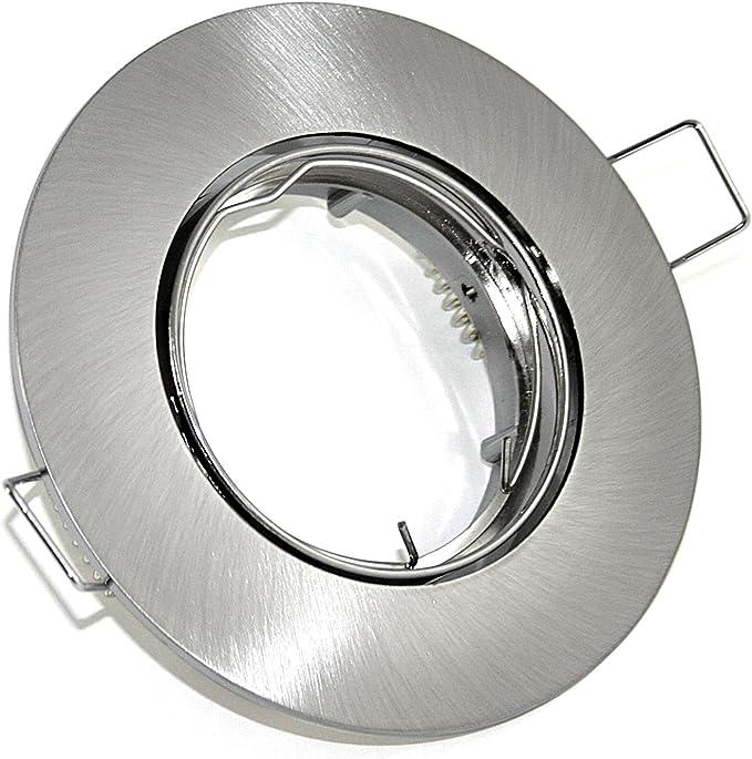 INO Einbaurahmen Edelstahl gebürtstet rund schwenkbar Ø84mm für Einbauleuchte