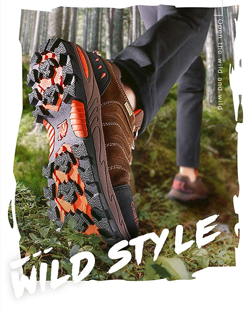 ZXLO Mens Hiking Shoes Lightweight Leather Sneaker Walking Trekking Training Casual Work Shoes