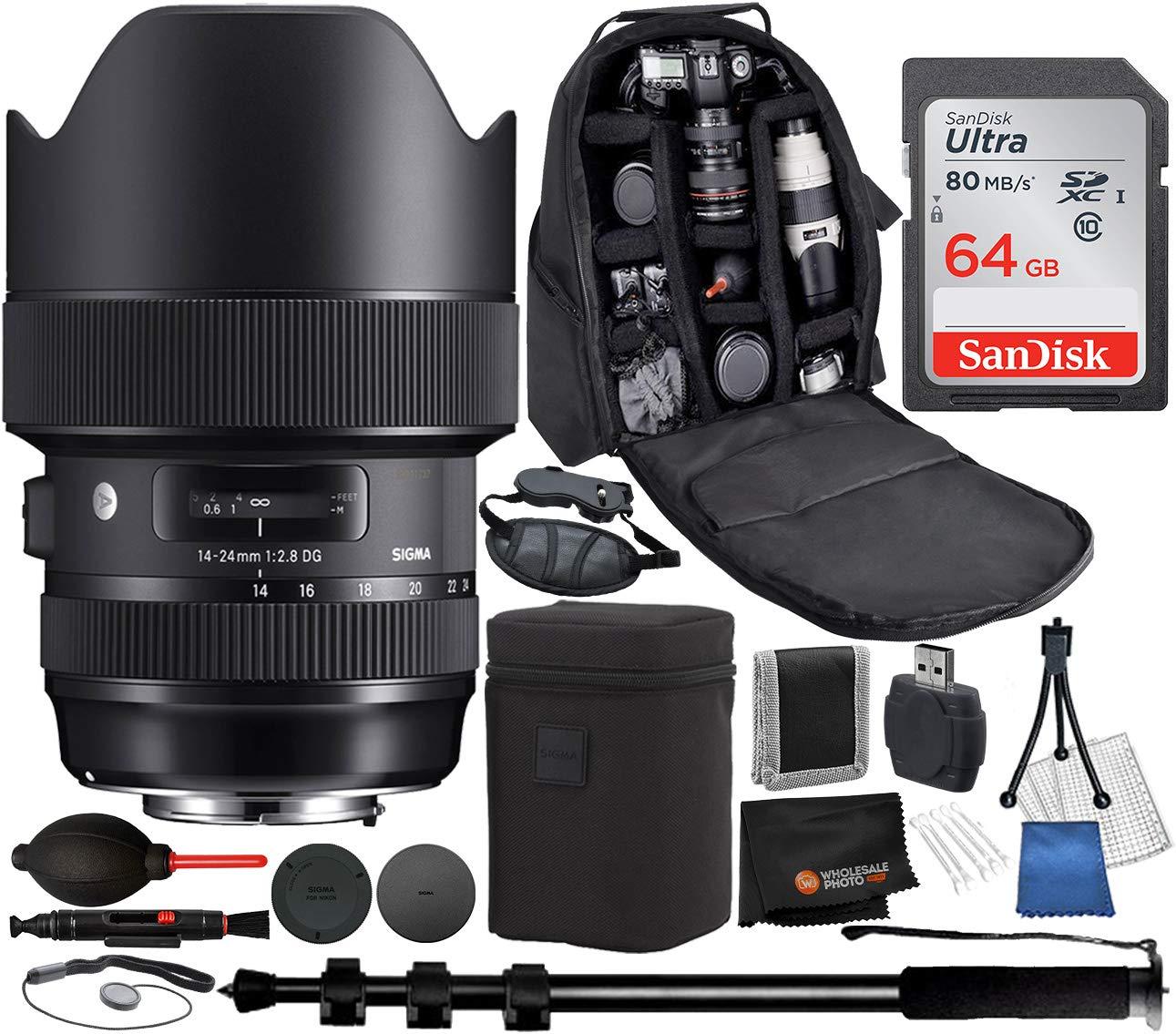 Sigma 14-24mm f/2.8 DG HSM Art Lens for Nikon F – 11PC Accessory Bundle Includes: Backpack - Pro Monopod - 64GB Memory Card + More