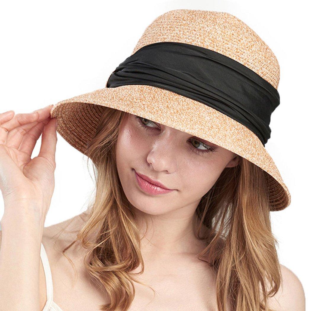Womens Straw Hats Summer Beach Wide Brim Floppy Sun UV Protect Packable Hat