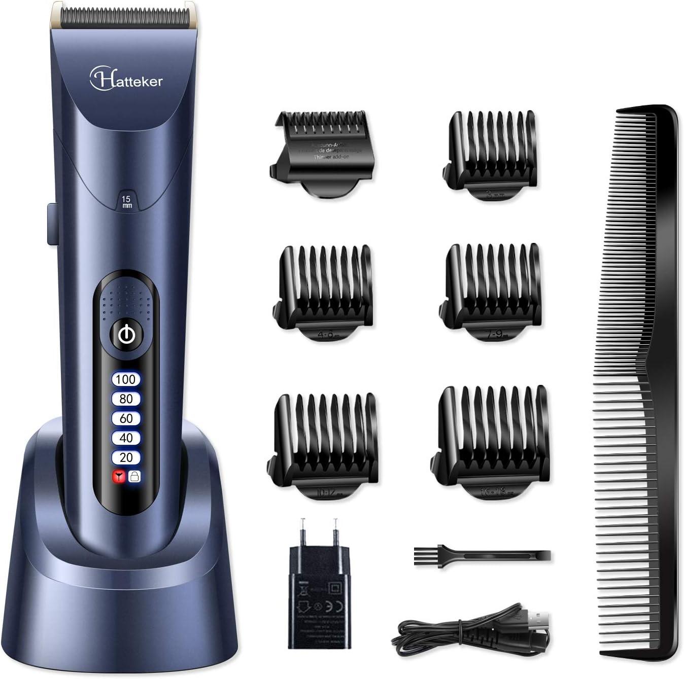 HATTEKER Cortapelos Cortapelo Máquina para Hombres Electrónico Cortar Pelo Profesional Recortador de barba con Batería Recargable y Pantalla LCD Impermeable