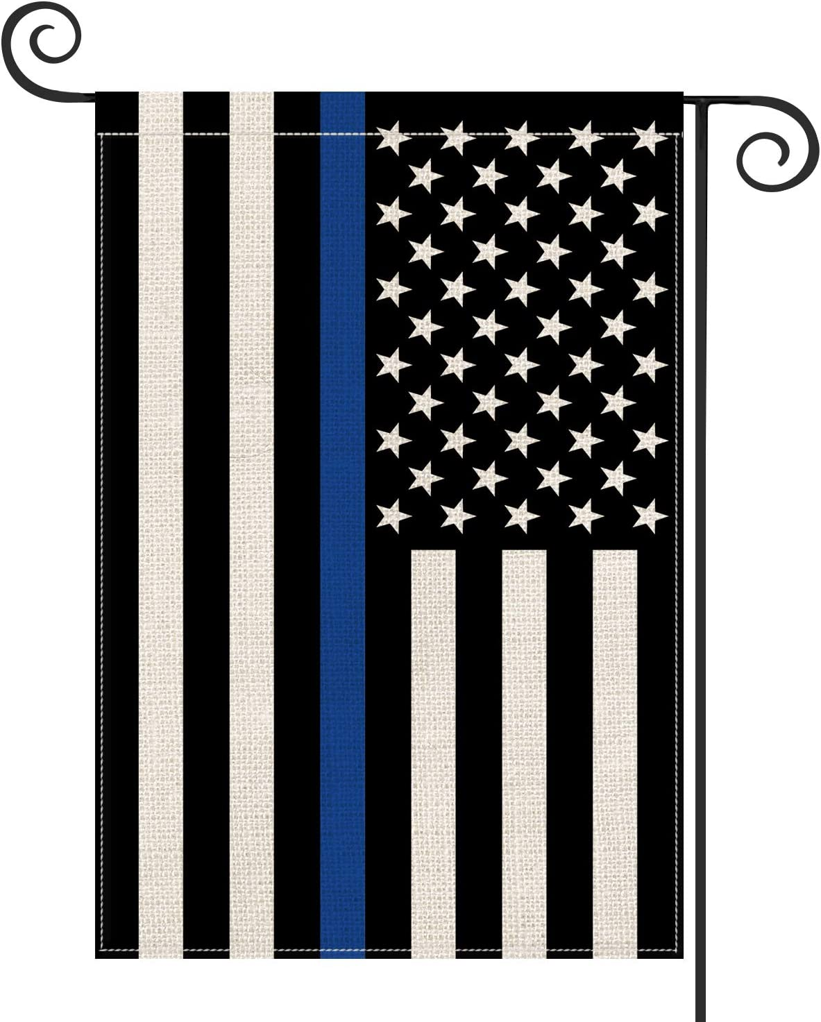 AVOIN Thin Blue Line American US Flag Garden Flag Vertical Double Sided, Patriotic USA Honoring Law Enforcement Officers Flag Yard Outdoor Decoration 12.5 x 18 Inch