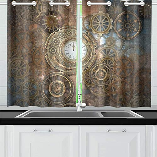 MOVTBA Rusty Steampunk Clock Different Kinds Kitchen Curtains Window Curtain Tiers for Caf , Bath, Laundry, Living Room Bedroom 26 X 39 Inch 2 Pieces