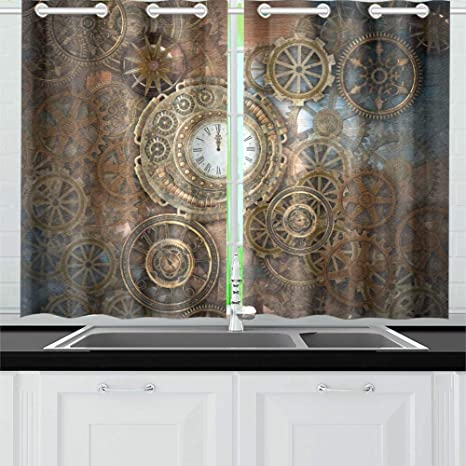 Movtba Rusty Steampunk Clock Different Kinds Kitchen Curtains Window Curtain Tiers For Cafe Bath Laundry Living Room Bedroom 26 X 39 Inch 2 Pieces