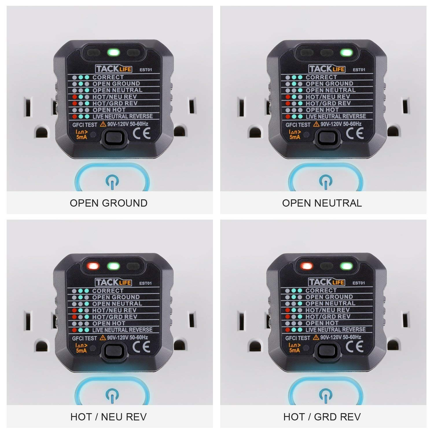 Tacklife Est01 Advanced Gfci Outlet Tester Power Socket Automatic House Wiring Open Neutral Electric Circuit Polarity Voltage Detector Wall Plug Breaker Finder