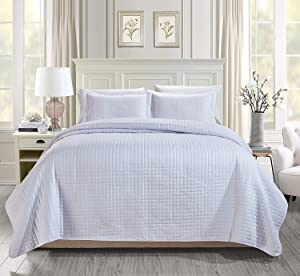 Chezmoi Collection 3-Piece Solid Modern Quilted Bedspread Coverlet Set (Queen, White)