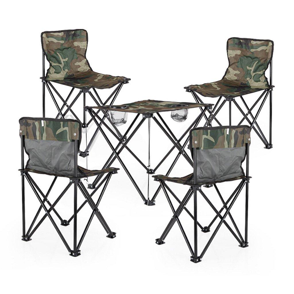 TMY Klapptisch Oxford Tuch Camouflage Camping Tisch und Stühle Set Outdoor Folding Portable für den Beach Garden Camping